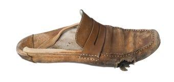 Geïsoleerde gebruikte schoen Royalty-vrije Stock Foto