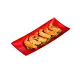 Geïsoleerde gefrituurde garnalen en varkensvleesbroodjes Stock Foto