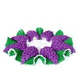 Geïsoleerde gehaakte doily in vorm van een violette druif met groen l royalty-vrije stock foto