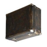 Geïsoleerde Gekraste Uitstekende Bruine Koffer op een Witte Achtergrond Stock Fotografie