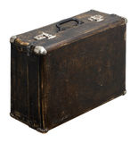 Geïsoleerde Gekraste Uitstekende Bruine Koffer op een Witte Achtergrond Stock Afbeeldingen
