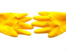 Geïsoleerde gele handschoenen. Royalty-vrije Stock Afbeeldingen