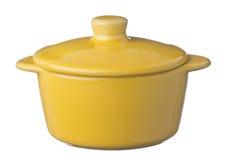 Geïsoleerde gele pot Stock Fotografie