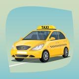Geïsoleerde gele taxiauto Stock Afbeeldingen