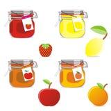 Geïsoleerde geplaatste jampotten en vruchten Vector Illustratie