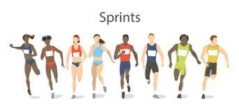 Geïsoleerde geplaatste sprinters Stock Afbeelding