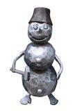 Geïsoleerde gesmede metaalsneeuwman met een hamer op een witte backgroun Stock Fotografie