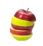 Geïsoleerde gesneden rode en groene appel Royalty-vrije Stock Afbeeldingen