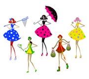 Geïsoleerde gestileerde mooie meisjesillustratie Stock Foto