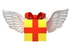 Geïsoleerde giftdoos met engelachtig vleugelsvervoer op wit royalty-vrije illustratie