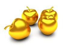 Geïsoleerde gouden appelen Stock Foto