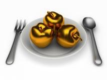Geïsoleerde gouden appelen Royalty-vrije Stock Afbeelding
