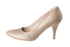 Geïsoleerde gouden schoen Stock Foto's