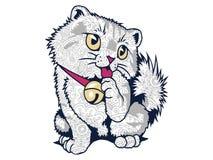 geïsoleerde grappige vette kat in witte achtergrondhand getrokken kattenkrabbel voor de volwassen kleurende pagina van de spannin Royalty-vrije Stock Fotografie
