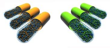 Geïsoleerde groene en oranje pillen Stock Afbeeldingen