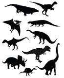 Geïsoleerde groep van tien dinosaurussen Stock Foto