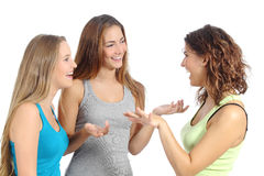 Geïsoleerde groep vrouwen die spreken Stock Foto