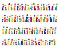 Geïsoleerde grote groepsmededeling van mensen het spreken Deel sociaal netwerken mee Gekleurd profielsilhouet De Bel van de toesp stock illustratie