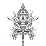 Geïsoleerde hand getrokken zwarte overzichts zwart-wit overladen bloem op witte achtergrond Abstract ornament van krommelijnen royalty-vrije illustratie
