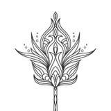 Geïsoleerde hand getrokken zwarte overzichts zwart-wit overladen bloem op witte achtergrond Abstract ornament van krommelijnen vector illustratie