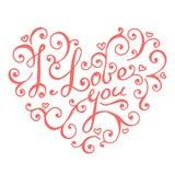 Geïsoleerde hand van letters voorziende harten voor Valentijnskaartendag Royalty-vrije Stock Fotografie