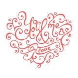 Geïsoleerde hand van letters voorziende harten voor Valentijnskaartendag Stock Fotografie