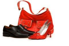 Geïsoleerde, handtas en schoenen Stock Afbeelding