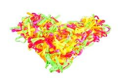 geïsoleerde hart Kleurrijke elastiekjes Stock Foto's