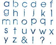 Geïsoleerde herdrukken van zegels Engelse alfabetische in kleine letters, Stock Foto's