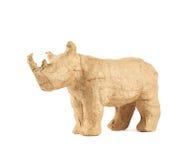 Geïsoleerde het beeldhouwwerk van de rinocerosrinoceros Stock Afbeeldingen