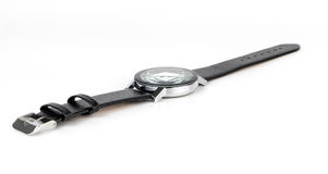 Geïsoleerde het horloge van de de mensenhand van het luxeleer Stock Foto's