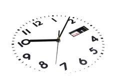 Geïsoleerde Het horlogegezicht is overgeheld De Wijzerplaat van horloges De handen op de klok Kalender, Zondag, eerste dag De nad royalty-vrije stock fotografie