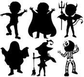 Geïsoleerde het Kostuum van Halloween van silhouetjonge geitjes Stock Fotografie
