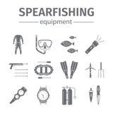 Geïsoleerde het pictogramreeks van de Spearfishingslijn Het duiken Pictogrammen Vector illustratie Royalty-vrije Stock Fotografie