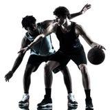 Geïsoleerde het silhouetschaduw van basketbalspelers mensen Royalty-vrije Stock Foto's