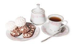 Geïsoleerde het snoepje van de theecake Stock Foto