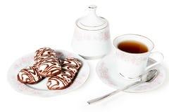 Geïsoleerde het snoepje van de theecake Stock Foto's