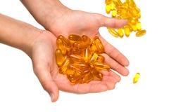 Geïsoleerde het supplementcapsules van het pillengel Stock Afbeeldingen