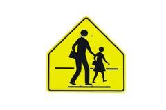 Geïsoleerde het waarschuwingsbord van de Rafficschool Stock Foto