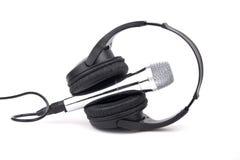 Geïsoleerde hoofdtelefoons en microfoon Stock Fotografie