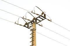 Geïsoleerde hoogspannings Elektrische Pijler Royalty-vrije Stock Fotografie