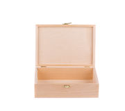 Geïsoleerde houten doos Royalty-vrije Stock Afbeelding