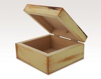 Geïsoleerde houten doos stock fotografie