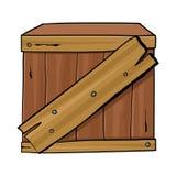 Geïsoleerde houten doos royalty-vrije illustratie