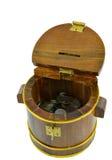 Geïsoleerde houten geldbank Royalty-vrije Stock Afbeelding