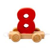 Geïsoleerde houten nummer acht Stock Foto