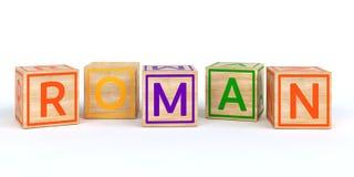 Geïsoleerde houten stuk speelgoed kubussen met brieven met naam Romein Royalty-vrije Stock Afbeelding