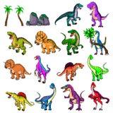 Geïsoleerde illustratie van een reeks dinosaurussen Stock Foto