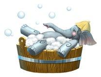 Geïsoleerde illustratie van olifant in bathhouse royalty-vrije illustratie
