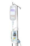 Geïsoleerde infusiepomp en IV die op pool hangen Royalty-vrije Stock Afbeeldingen